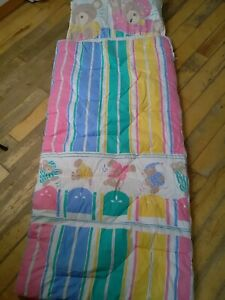 Girls vintage 1980s  children sleeping bag with match pillow