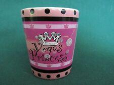 VEGAS PRINCESS   PINK & WHITE CERAMIC SHOT GLASS