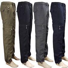 Mens Elasticated Summer Trousers lightweight Cargo Combat Shorts Work Pants