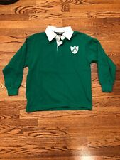 Rugby World Boy's Sz S (7-8) Ireland Long Sleeve Rugby Shirt Collared ~Green~