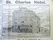 1890 El Paso TEXAS newspaper illust ST CHARLES HOTEL Merrick Bldg HOLLYWOOD CAFE