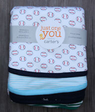 Carter's Just One You Baby Boy Set of 4 Burp Cloths ~Baseballs ~ Stripes ~Dogs ~
