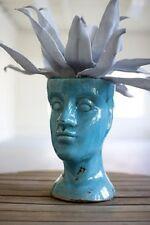Turquoise Blue Bust Ceramic Head Planter Flower Pot Plant Holder Crackle Finish