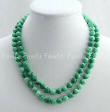 Exquisite 8mm Natural Green Jadeite Jade Gemstone Round Beads Necklace 36""