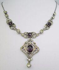 Antiguo Eduardiano Victoriano Corte Antiguo Collar De Plata Amatista Pasta Bisel clara