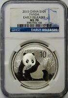 2015 1 oz .999 China Panda 10 Yuan Early Release NGC MS70 Flawless Flashy Coin
