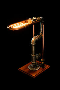 Rustic Industrial Style Copper Iron Pipe Lamp Desk Bedside Lamp Ambient bulb