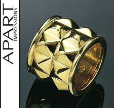 NEU: BREITER RING 925er-STERLING SILBER VERGOLDET 19 20 21 APART golden *473764