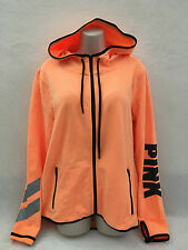 VICTORIA'S SECRET PINK REFLECTIVE FLEECE HOODIE HIGH / LO FULL ZIP ORANGE LG NIP
