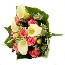 Soie artificielle fleurs mélangées bouquet Calla Lys Roses 40cm Rose