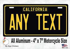 California Black, Personalized Custom License Plate MOTORCYCLE 4 X 7 aluminum