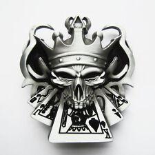 Skull w/ Royal Straight Flush Poker Cards Belt Buckle