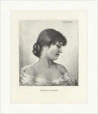 Studienkopf von Joseph Zenisek Profil Porträt Frisuren Dutt Holzstich A 0869