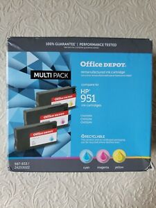 Office Depot HP 951 Cyan/Magenta/Yellow Remanufactured Ink Cartridges New in Box