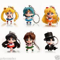 Sailor Moon Anime Luna Tsukino Usagi Keychain keyring Action Figures Toy * 6 PCS