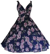 Ladies 1940's 1950's Retro Vintage Style Navy Floral Chiffon Tea Dress New 10-20