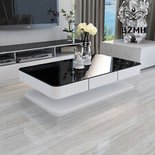 White Coffee Table Rectangle Black Glass High Gloss 2 Drawers Office Living Room