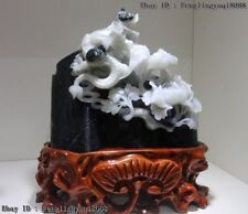 Chinese Natural Dushan Jade Dragon Play Bead Bloomy Peony Flower Fengshui Statue