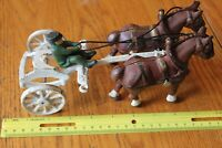 Cast Iron Horse drawn Buggy wagon parts 2 horses and amish man Vintage toy