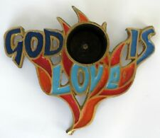"Rare Terra Sancta Guild Enameled Brass Candle Holder ""God Is Love"" Single Taper"
