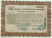 Buffalo Niagara and Eastern Power Corp > 1925 New York falls stock certificate