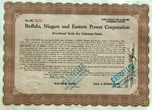 Buffalo Niagara and Eastern Power Corp > 1925 New York falls stock certificate