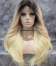 Long Ombre Brown Bleach Blonde Mix Lace Front Full Wig Heat Ok Hair Piece NWT