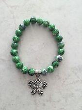 Bracelet 8mm Green Grey Cream Fleck Beads Silver Tone Lucky Butterfly Charm Bail