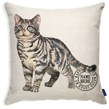 More details for personalised grey tabby cushion cover cat pillow portrait kitten gift kcc50