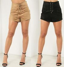 Ladies Womens Hotpants Shorts High Waisted Faux Suede Corset Detail Pants