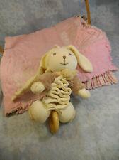 2004 Kaloo Musical Bunny Rabbit Hare Crib Pull Plush Stroller Toy Wooden Ring
