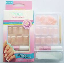 24 FAUX ONGLES FRENCH MANUCURE COULEUR ROSE AVEC TUBE COLLE + LIME
