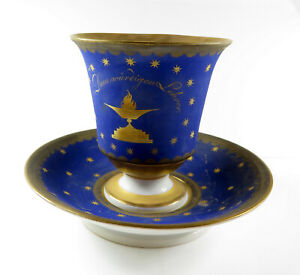 Sehr alte Meissen Tasse wohl Freimaurer Logen - Tasse in matt blau und vergoldet
