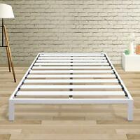 Classic 14'' Full White Metal Platform Bed with Extra Sturdy Heavy Duty Steel