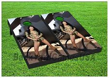 Cornhole Boards BEANBAG TOSS GAME w Bags Sexy US Army Marines Military Girl 207