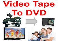 TAPE TRANSFER TO DVD * 25 VIDEO TAPES * VHS, VHS-C MiniDV, Hi8 * Convert To DVD