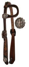 Showman Copper Cross Conchos Tooled Leather Headstall Show Bridle Horse Reins
