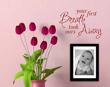 Tu primera bocanada de aire New Born Baby citar Vivero pegatina de vinilo de pared arte yfb1