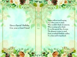 16 Assorted colours floral frame.. FRIEND Card verse inserts for A5 cards