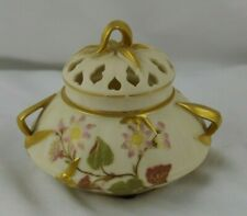 Antique Royal Worcester Blush Porcelain Bamboo Potpourri Reticulated Lid
