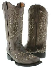 Womens Brown Western Cowgirl Boots Silver Studs Embroidery Square Toe