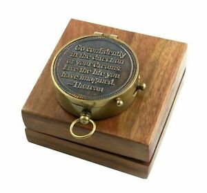 Thoreau Quote Engrave Brass Navigation Pocket Marine Outdoor Camping Compass