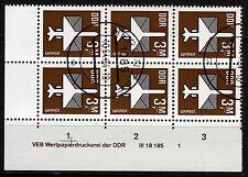 DDR 2868 DV, O, 3 Mark Flugpost, 6er-Block mit Druckvermerken
