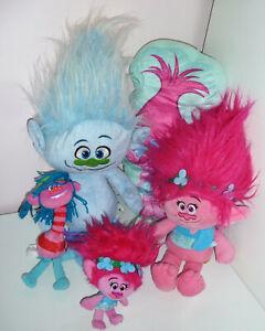 Bundle Of 5 DreamWorks Trolls Soft Plush Toys Poppy Cooper Guy Diamond Pillow