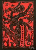 Chilean Mexican Art VICTOR HUGO NUNEZ Original Woodcut Hand-Signed Ld Ed n7