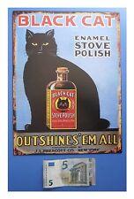 "Targa vintage ""Black Cat Enamel Stove Polish"" (gatto nero), metallo, cm 33x25"