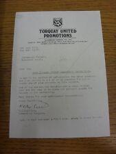 08/06/1983 Torquay United promozioni: lettera ufficiale da commerciale Manager ma