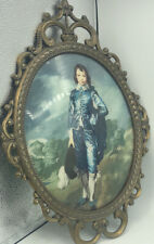 "Vintage ""Blue Boy"" Picture Ornate Victorian  Metal Frame Convex Glass 17"" Italy"