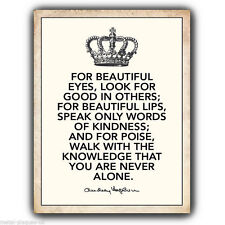 METAL SIGN WALL PLAQUE FOR BEAUTIFUL EYES LOOK FOR - Audrey Hepburn Quote poster
