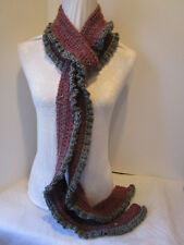Crochet Skinny Wavy/Ruffle Scarf-Red & Gray Mix